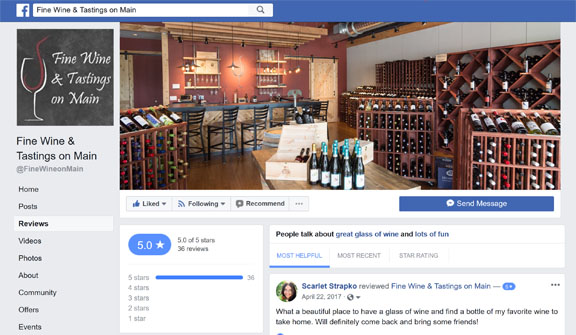Facebook Reviews Fine Wine & Tastings on Main Lakewood Ranch Wine Bar and Wine Store